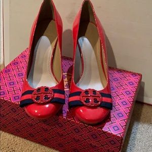 Red Maritime Patent Leather Heels
